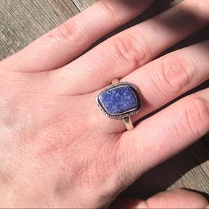 Sterling silver plated purple druzy ring size 9